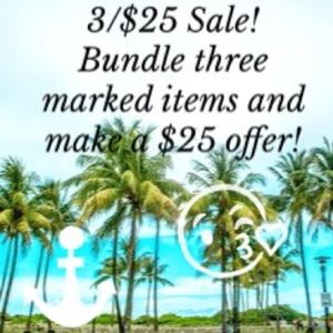 3/$25 Sale on all marked items!!